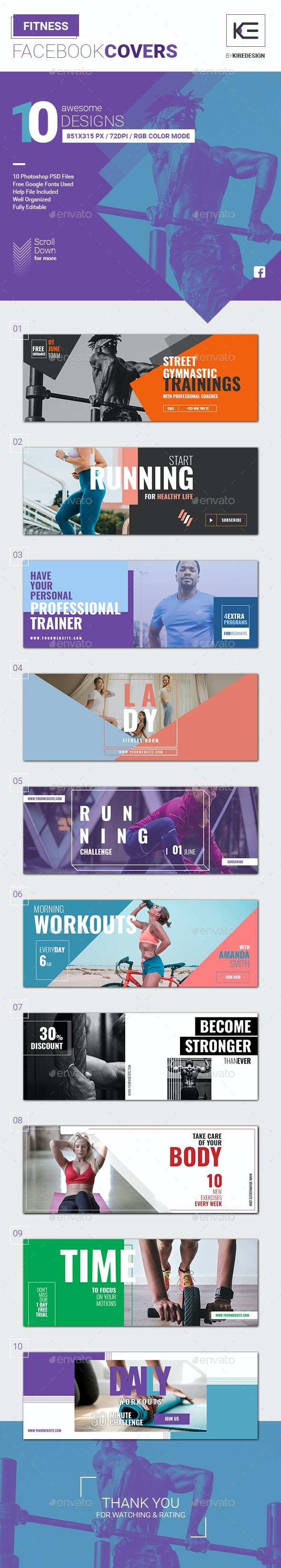 10 Fitness Facebook Covers - Social Media Web Elements