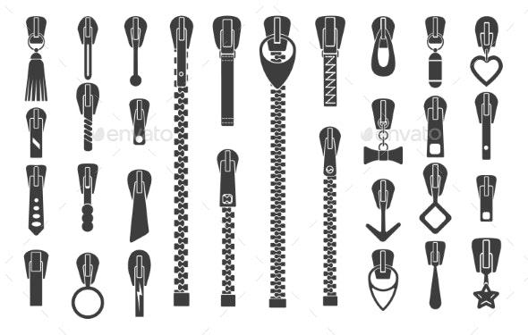 Zipper Silhouette Set - Man-made Objects Objects