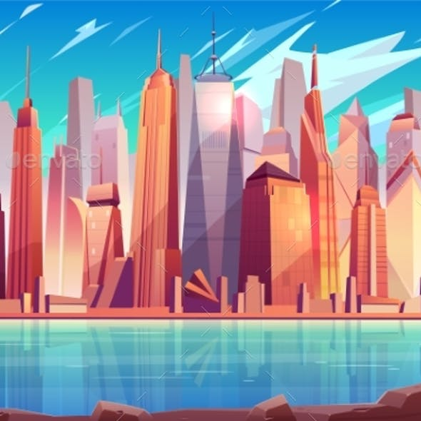 New York City Skyline Cartoon Vector Background