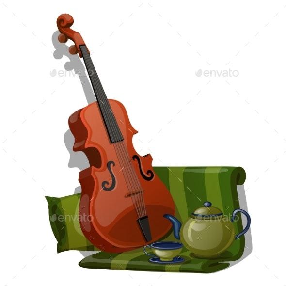 Composition of Violin, Green Striped Fabric - Miscellaneous Vectors