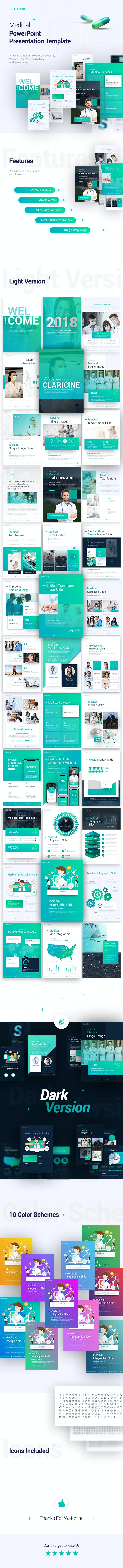 Claricine Portrait Medical PowerPoint Template - PowerPoint Templates Presentation Templates