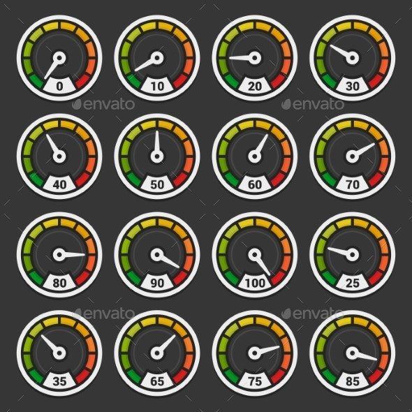 Speedometer and Indicators Icons Set on Dark - Miscellaneous Vectors