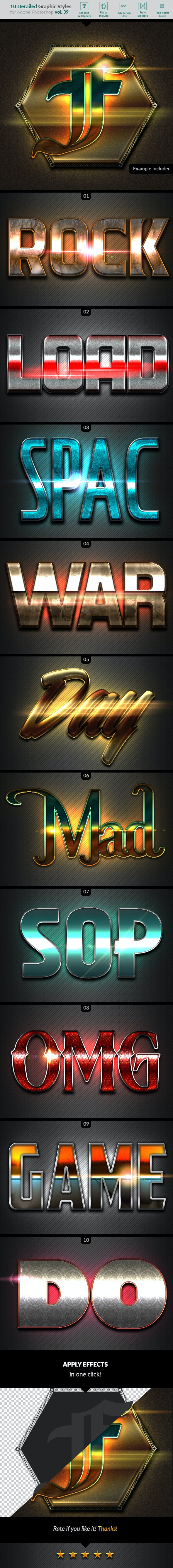 10 Text Effects Vol. 39 - Styles Photoshop