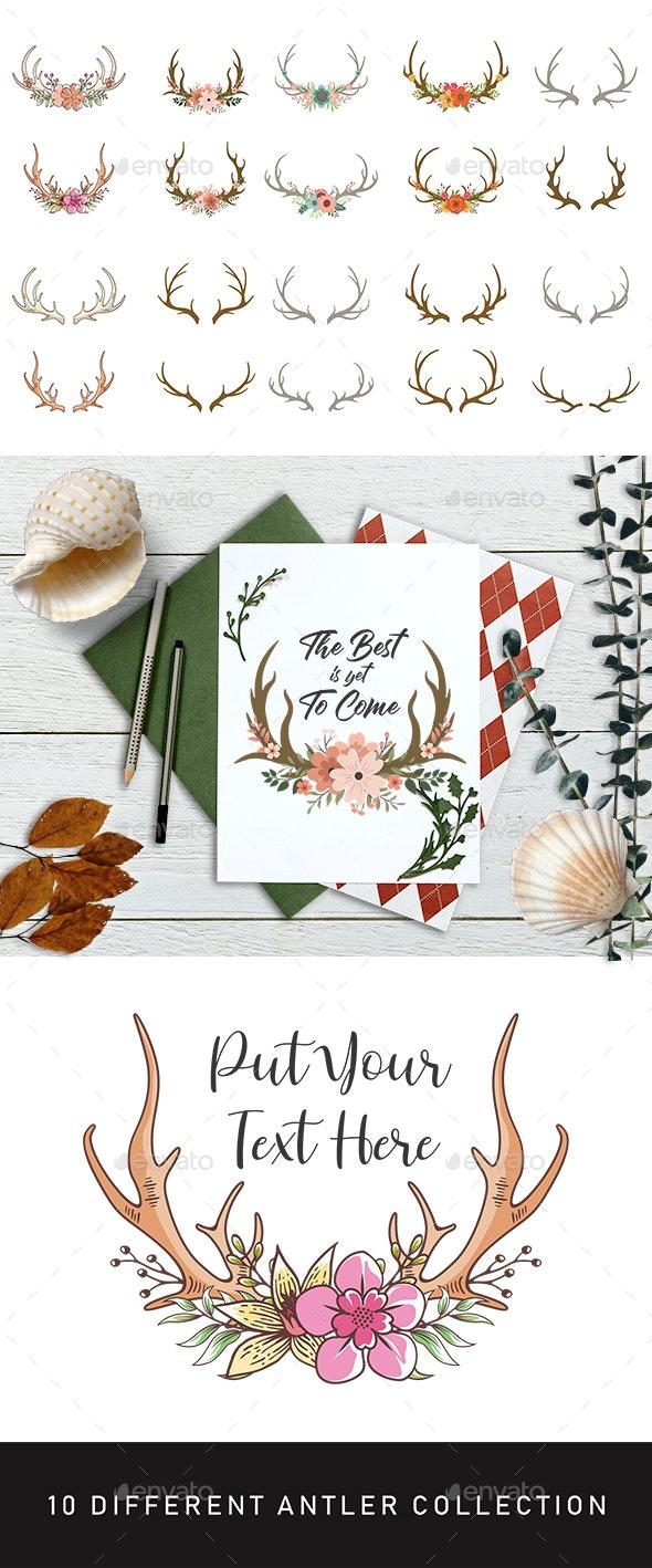 Floral Deer Horn Collection - Flourishes / Swirls Decorative