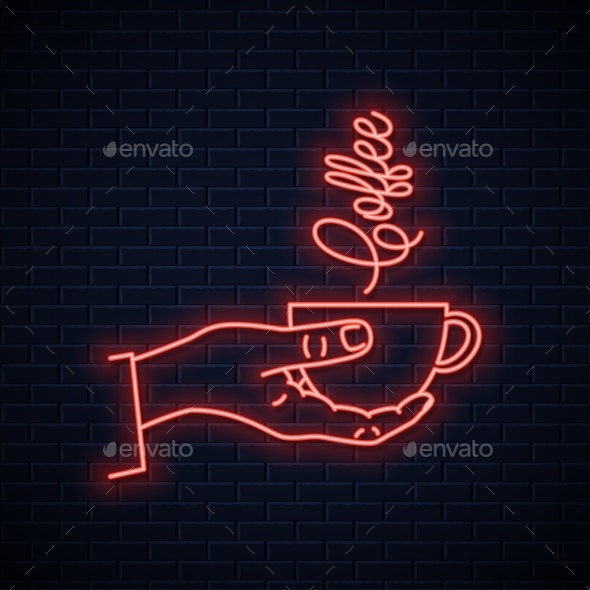 Hand Hold Coffee Neon Sign - Food Objects
