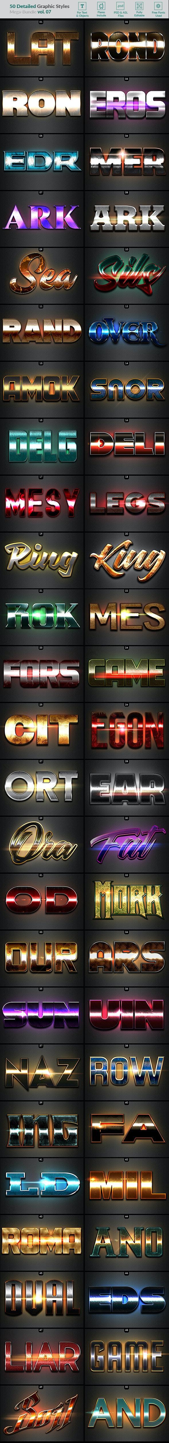 50 Text Effects - Bundle Vol. 07 - Styles Photoshop