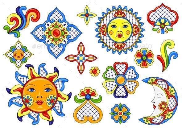 Set of Mexican Art Items - Decorative Symbols Decorative
