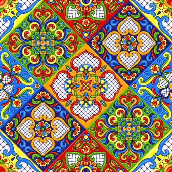 Mexican Talavera Ceramic Tile Pattern - Backgrounds Decorative