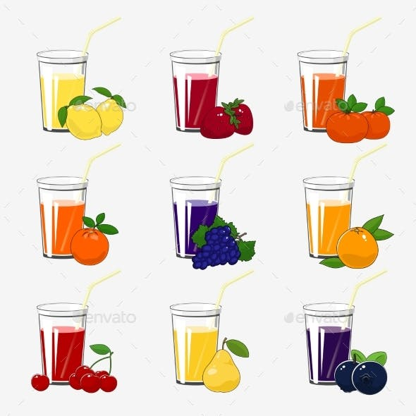 Set of Fresh Citrus Fruit and Berries Juices