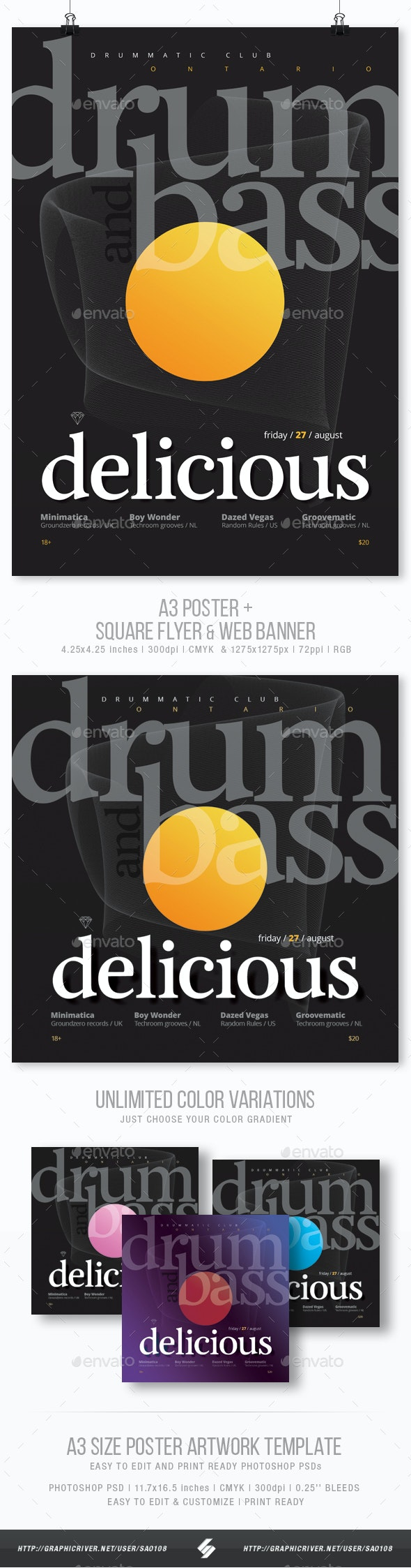 Drum and Bass Delicious - Party Flyer / Poster Template A3 - Clubs & Parties Events