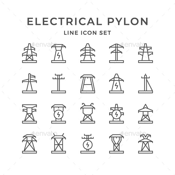 Set Line Icons of Electrical Pylon - Man-made objects Objects