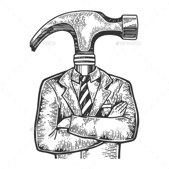 Hammer Head Businessman Sketch Engraving Vector - Miscellaneous Characters