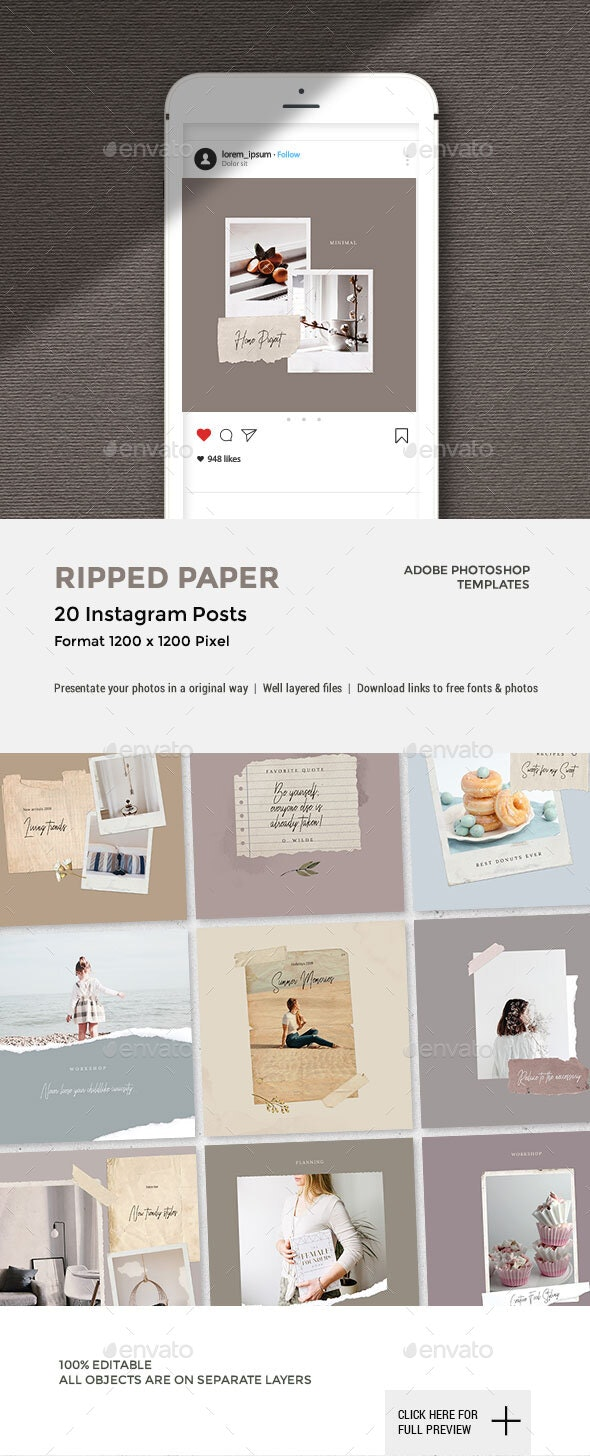 Ripped Paper - Instagram Posts - Social Media Web Elements