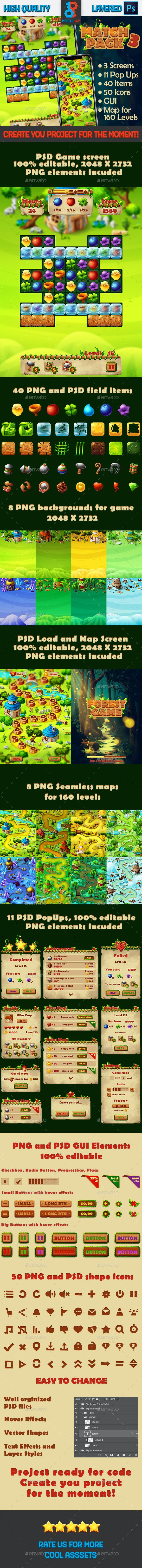 Forest Match 3 Full Game Asset - Game Kits Game Assets