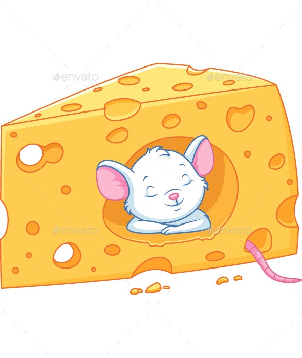 Mouse Sleeps in Cheese - Animals Characters