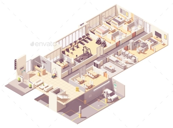 Vector Isometric Hotel Interior - Buildings Objects