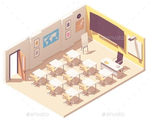 Vector Isometric School Classroom - Buildings Objects