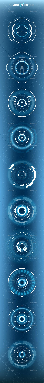 10 Futuristic Hud Circle Elements - Miscellaneous Vectors