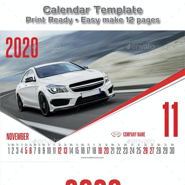Modern Cars Calendar 2019 - 2020 Template