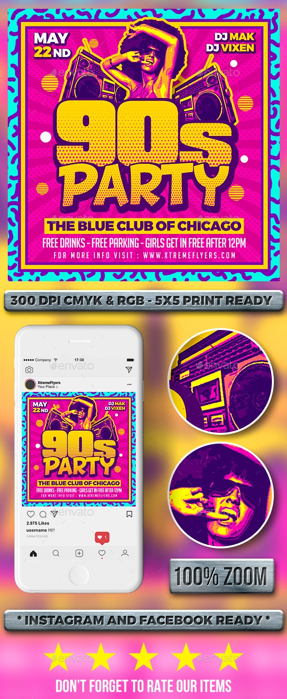 90s Party Flyer - Clubs & Parties Events
