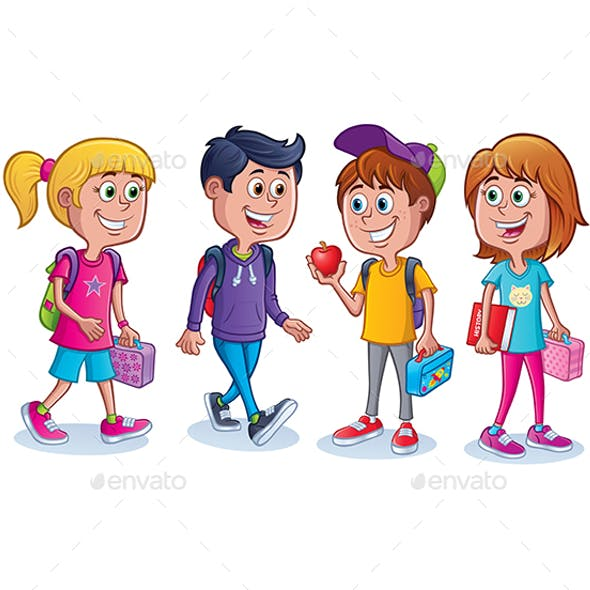 Group of Kids Ready for School