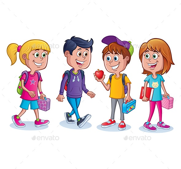 Group of Kids Ready for School - People Characters