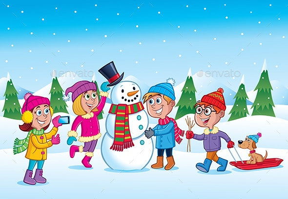 Kids Building a Snowman in Wintertime - People Characters
