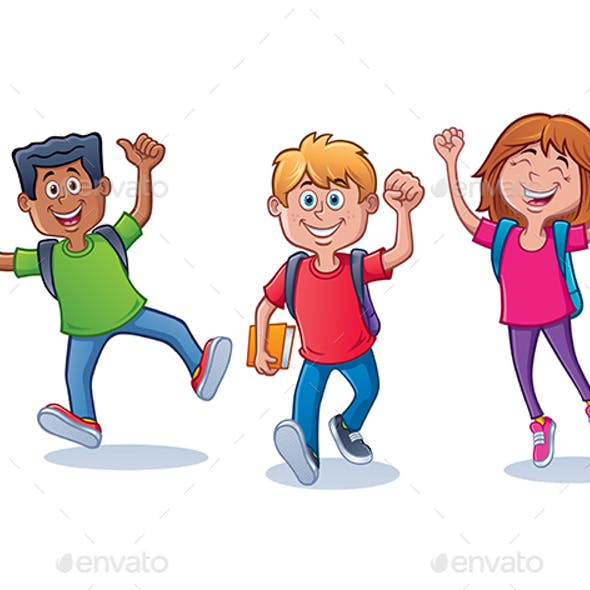 Excited School Kids Ready for School