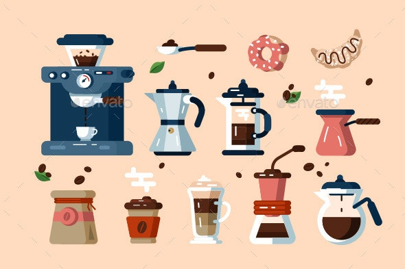 Set of Various Coffee Machines and Tools - Food Objects