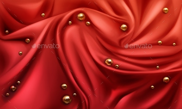 Red Silk Draped Fabric Background with Gold Pearls - Backgrounds Decorative