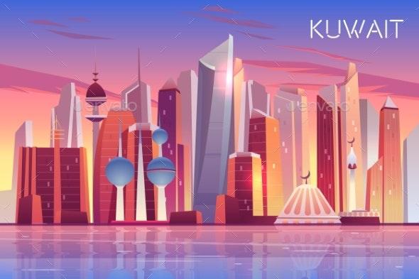 Kuwait City Skyline Modern Arab State Cityscape - Buildings Objects