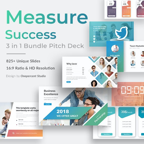 Measure Success 3 in 1 Pitch Deck Bundle Keynote Template