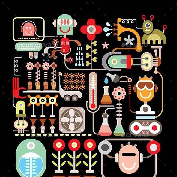 Robotic Flower Laboratory vector illustration