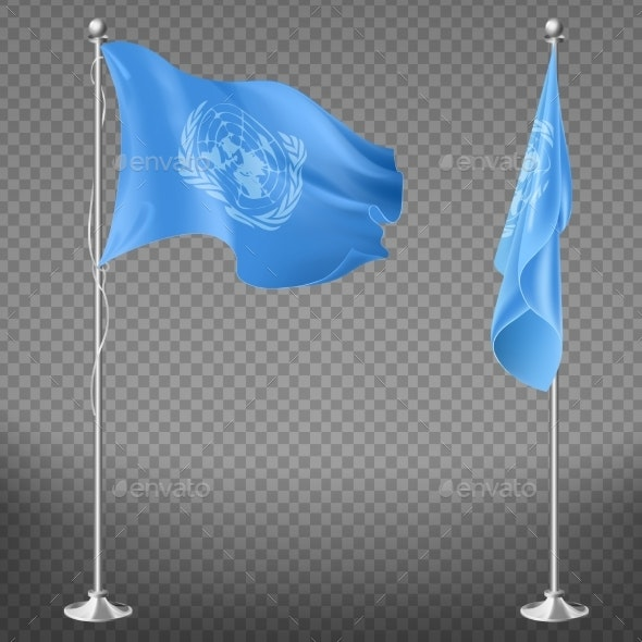 United Nations Organization Flag on Flagpole - Miscellaneous Vectors