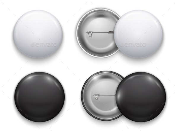 Realistic Round Badge Set - Man-made Objects Objects