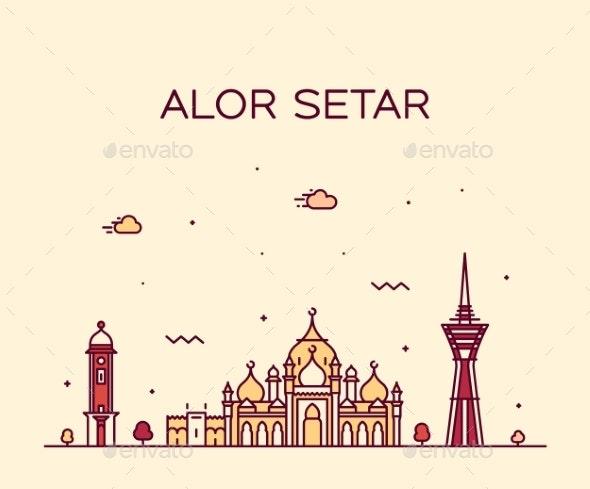 Alor Setar Skyline Kedah Malaysia Vector Linear - Buildings Objects