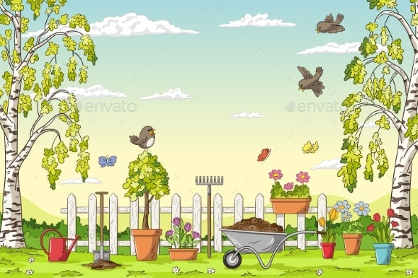Spring Landscape With Gardening Tools - Flowers & Plants Nature