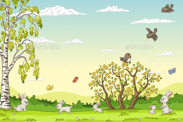 Spring Landscape With Rabbits - Animals Characters