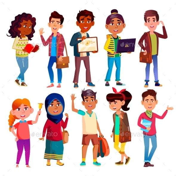 Highschool Pupils, Teenagers Vector Cartoon - People Characters