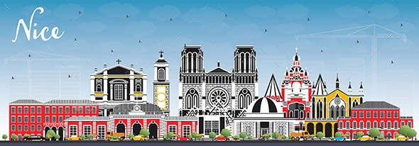 Nice France City Skyline with Color Buildings and Blue Sky - Buildings Objects