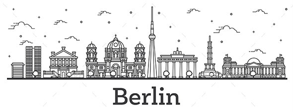 Outline Berlin Germany City Skyline with Historical Buildings Isolated on White - Buildings Objects
