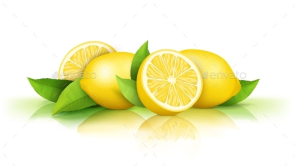 Lemons and Green Leaves Isolated on White - Food Objects