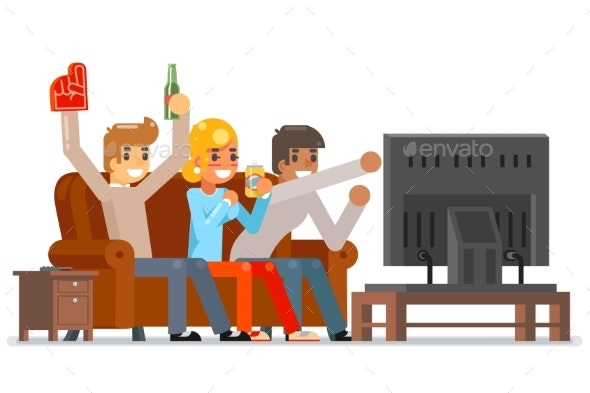 Football Fans Together Gamer Girl Boy Friends - Sports/Activity Conceptual