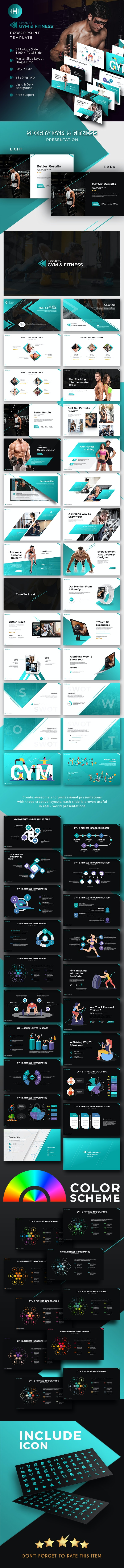 Sporty Gym & Fitness Presentation Template - PowerPoint Templates Presentation Templates