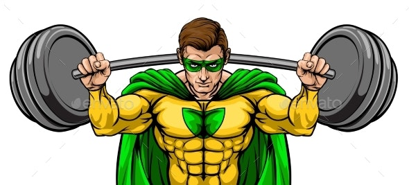 Superhero Mascot Weightlifter Lifting Barbell - People Characters