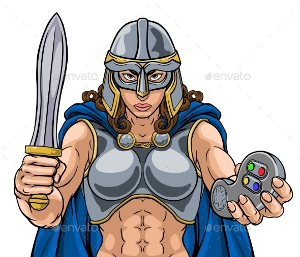 Viking Trojan Celtic Knight Gamer Warrior Woman - People Characters