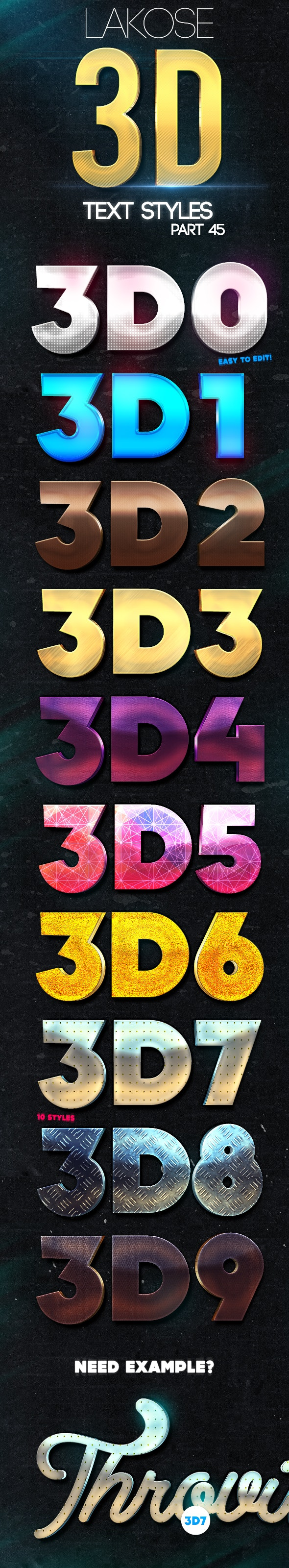 Lakose 3D Text Styles Part 45 - Text Effects Styles