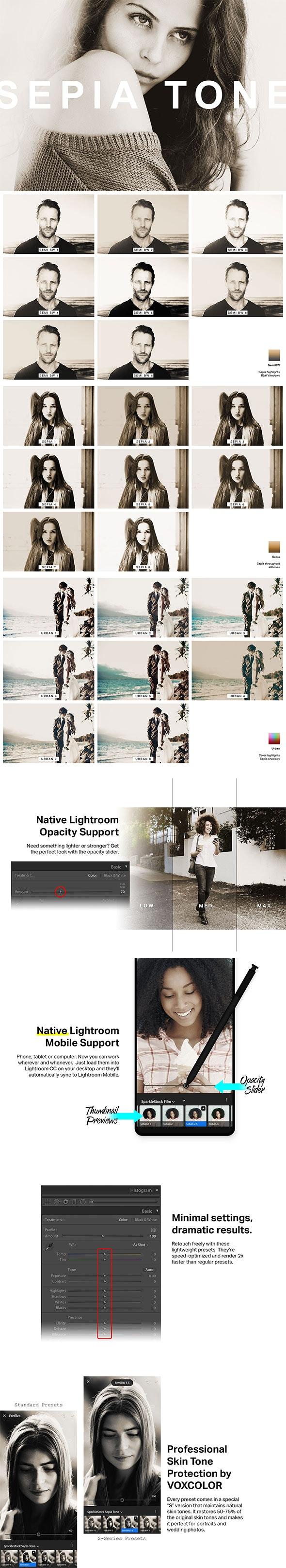 24 Sepia Tone Lightroom Presets and LUTs