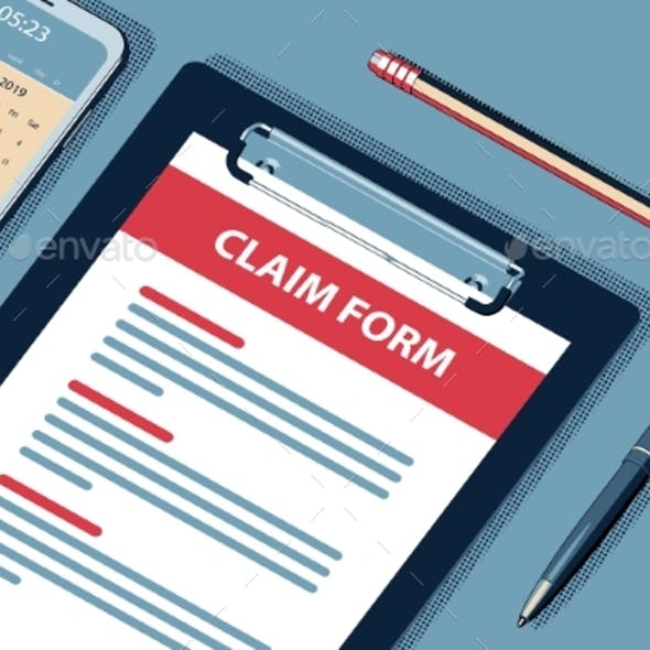 Claim Concept with Clipboard Vector Halftone