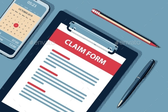 Claim Concept with Clipboard Vector Halftone - Concepts Business